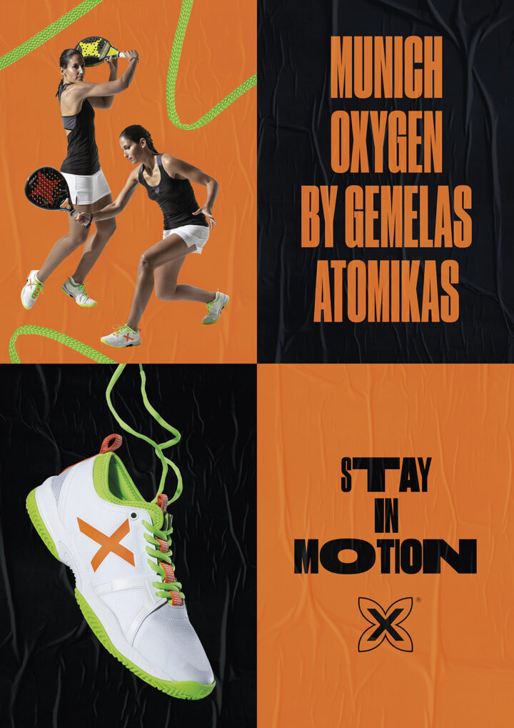 Gráfica Stay in Motion con Gemelas Atomikas