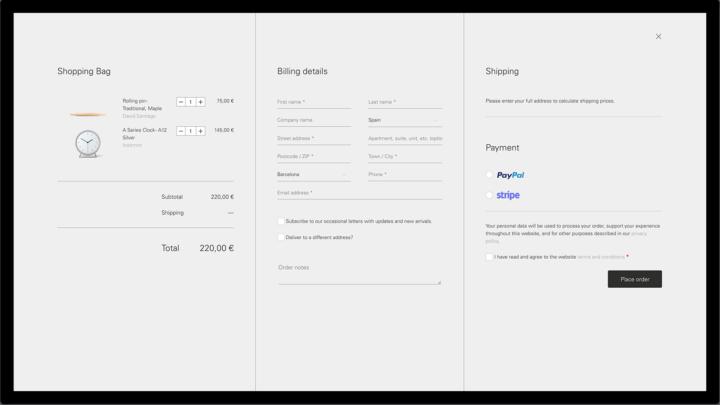Diseño checkout